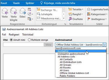 Kui Gmaili kontaktid on imporditud, kuvatakse need teenusekomplekti Office 365 aadressiraamatus.
