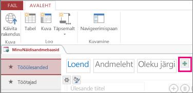 Loendivaate lisamine Accessi klientrakendusest