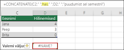 Viga #NAME?, mille on põhjustanud puuduvad jutumärgid tekstiväärtustes