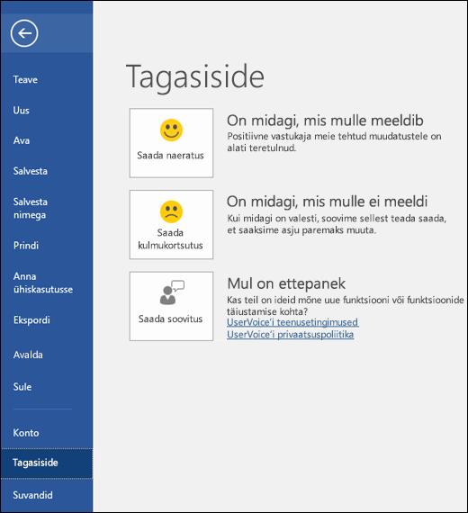 Kui teil on Microsoft Wordi kohta kommentaare või soovitusi, valige Fail > Tagasiside.