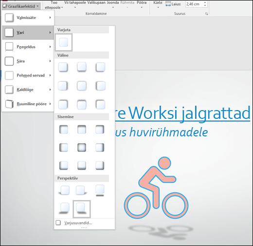 SVG-piltidele efektide (nt varjude) lisamine tööriistaga Graafikaefektid
