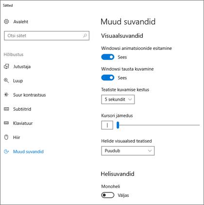 Hõlbustuskeskuse paan Muud suvandid Windows 10 sätetes