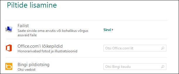 Dialoogiboks Pildi lisamine rakenduses Publisher 2013