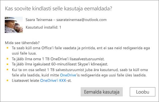 Kuvatõmmis kinnituse dialoogiboksist, kui eemaldate kasutaja Office 365 Home'i tellimusest.