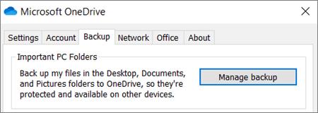 OneDrive'i töölauarakendus sätete varukoopia menüü