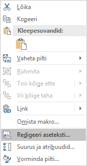 """Excel Win32 menüü """"teksti aseteksti"""" redigeerimine piltide jaoks"""
