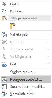 Exceli Win32 Redigeeri kujundit menüü piltide