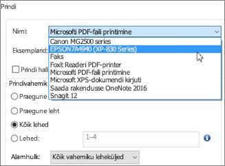 Nime väljal klõpsake printeri nime