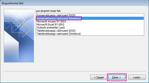 Valige CSV-faili eksportimine (Windows)