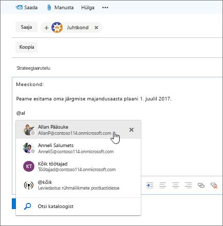Kuvatõmmis Outlooki uue e-posti dialoogiboks, näitab @mention sõnumi tekst.