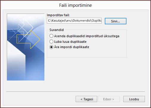 Valige imporditav fail.