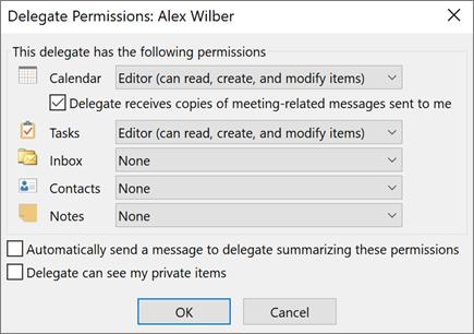 Outlooki Delegaadi õigused