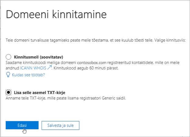 """Nupu """"Lisa selle asemel TXT-kirje"""" valimine Office 365 keskkonnas_C3_2017530143712"""