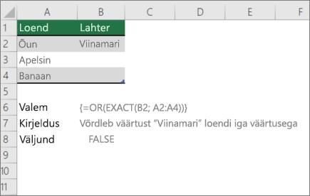 Näide kasutamine või täpse funktsioonide võrdlemiseks ühe väärtuse väärtuste loendi ja