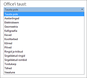 Loend Office'i taust Office 2013 programmides