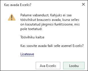 Dialoogiboksi parooliga kaitstud töövihiku avamisel rakenduses Excel Online