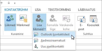 Liikmete lisamine Outlooki kontaktidest