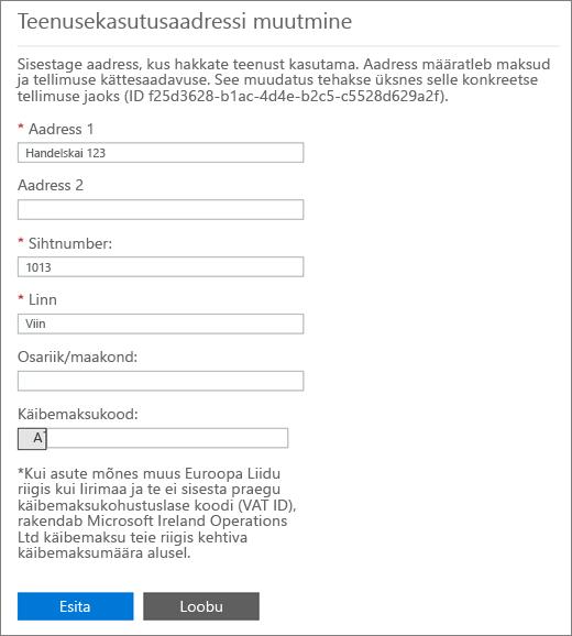 Redigeeri oma teenuse kasutuskoha aadress lehe allservas number väljale Käibemaksukood.