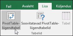Tühja PivotTable-liigendtabeli lisamiseks valige Lisa > PivotTable-liigendtabel