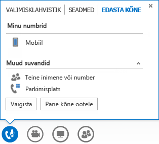 Kõne ümbersuunamismenüü ekraanipilt