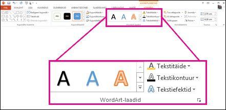 Lindi galerii WordArt-laadid