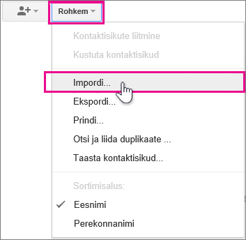 Google Gmail - Click More, import contacts