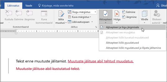 Office 365 Wordi muutuste jälitus