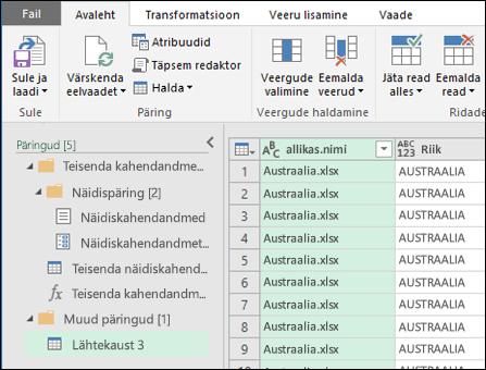 """Eelvaatega dialoogiboks """"Kaheandmete ühendamine"""" Tulemite kinnitamiseks ja nende Excelisse importimiseks vajutage nuppu """"Sule ja laadi""""."""