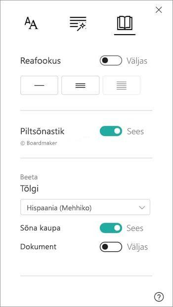 Tõlkimiseks leitakse Suvandid jaotises pildi sõnastikku.