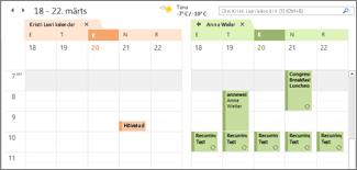 imporditud Google'i kalender Outlookis kõrvuti