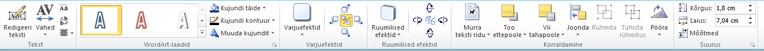 Menüü WordArt-riistad rakenduses Publisher 2010