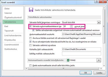 Automaattaaste suvand dialoogiboksi Exceli suvandid vahekaardil Salvestamine