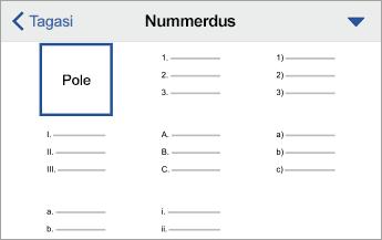 Nummerduse käsk, kuvatud on vormingusuvandid