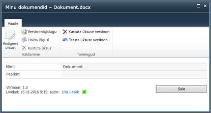 SharePoint 2010 versiooniajaloo dialoogiboks