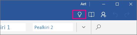 """Näitab ikooni """"Mida soovite teha?"""" asukohta Word Mobile'i menüülindil"""