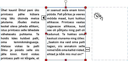 Kuvatõmmis ületäitunud tekstiga tekstivälja valmidusest üle kanduda teisele tekstiväljale.