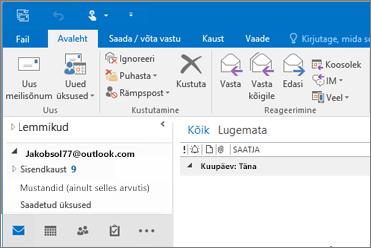 Pilt, millel on kujutatud rakendusse Outlook 2016 lisatud Outlook.com-i kontot.