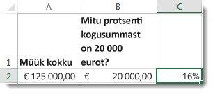 125 000 € lahtris a2, 20 000 € lahtris b2 ja 16% lahtris c2
