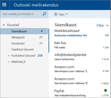 Outlook.com-i või Hotmail.com-i põhiaken
