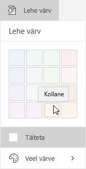 Lehe värvisuvandid rakenduses OneNote for Windows 10