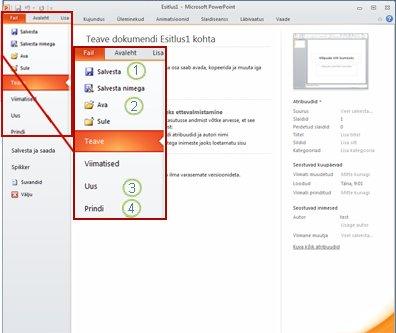 Menüü Fail rakenduse PowerPoint 2010 lindil.