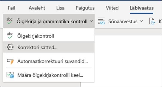 Kuvatõmmis Editor suvand Word Web Appis
