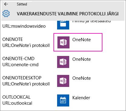 Operatsioonisüsteemi Windows 10 menüü Sätted valiku OneNote'i protokollid kuvatõmmis.