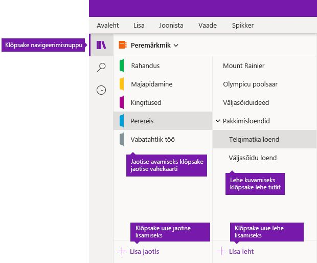 Jaotised ja lehed OneNote'is Windows 10 jaoks