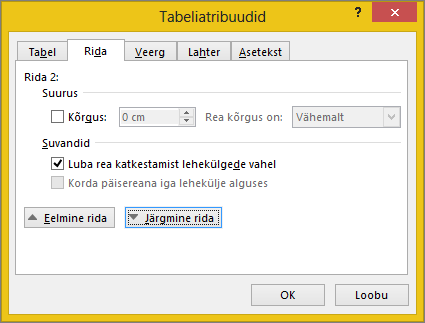 Dialoogiboksi Tabeli atribuudid vahekaarti rida