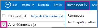 Valige Outlooki navigeerimispaanil allanool Rämpspost.