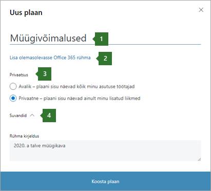 """Dialoogiboks Planneri uus leping ekraanipilt, kus on kuvatud 1 nime viiktekstid, mis on sisestatud """"Sales Pipe"""", 2 suvand """"olemasolevale Office 365 rühmale lisamine"""", 3 privaatsussätete ja 4 suvandid rippmenüü."""