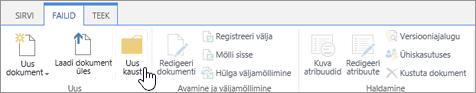 Pilt SharePointi lindist Failid, kus on esile tõstetud nupp Uus kaust.