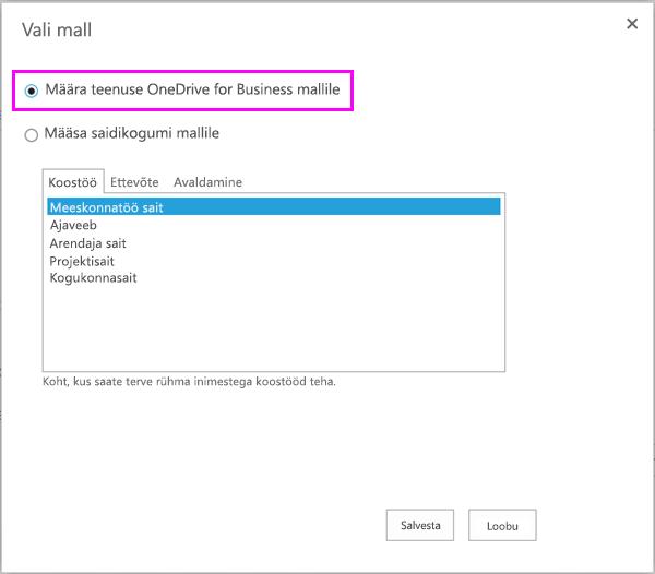 OneDrive for Business Mall suvand määramine