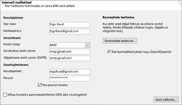 Sisestage Gmaili serverisätted